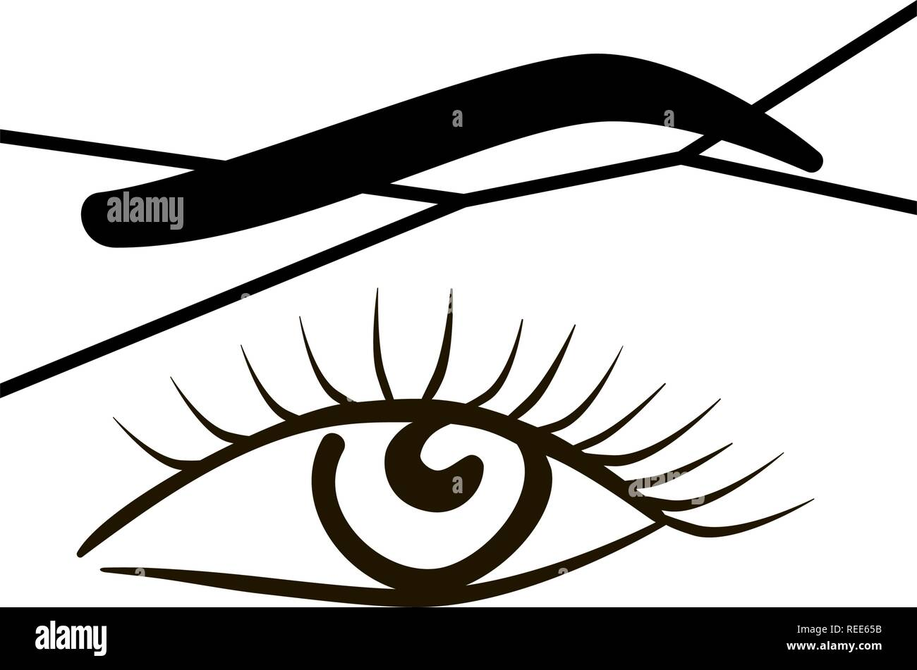 Close-up of female eye with a thread. Eyebrow threading - epilation procedure for brow shape correction - Stock Image