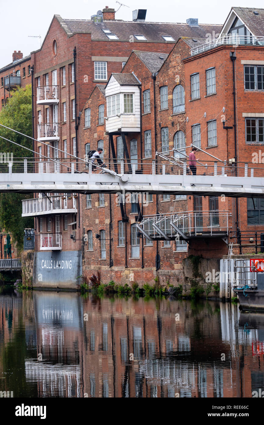 Calls Landing Riverside houses converted into city centre apartments Leeds West Yorkshire England Stock Photo