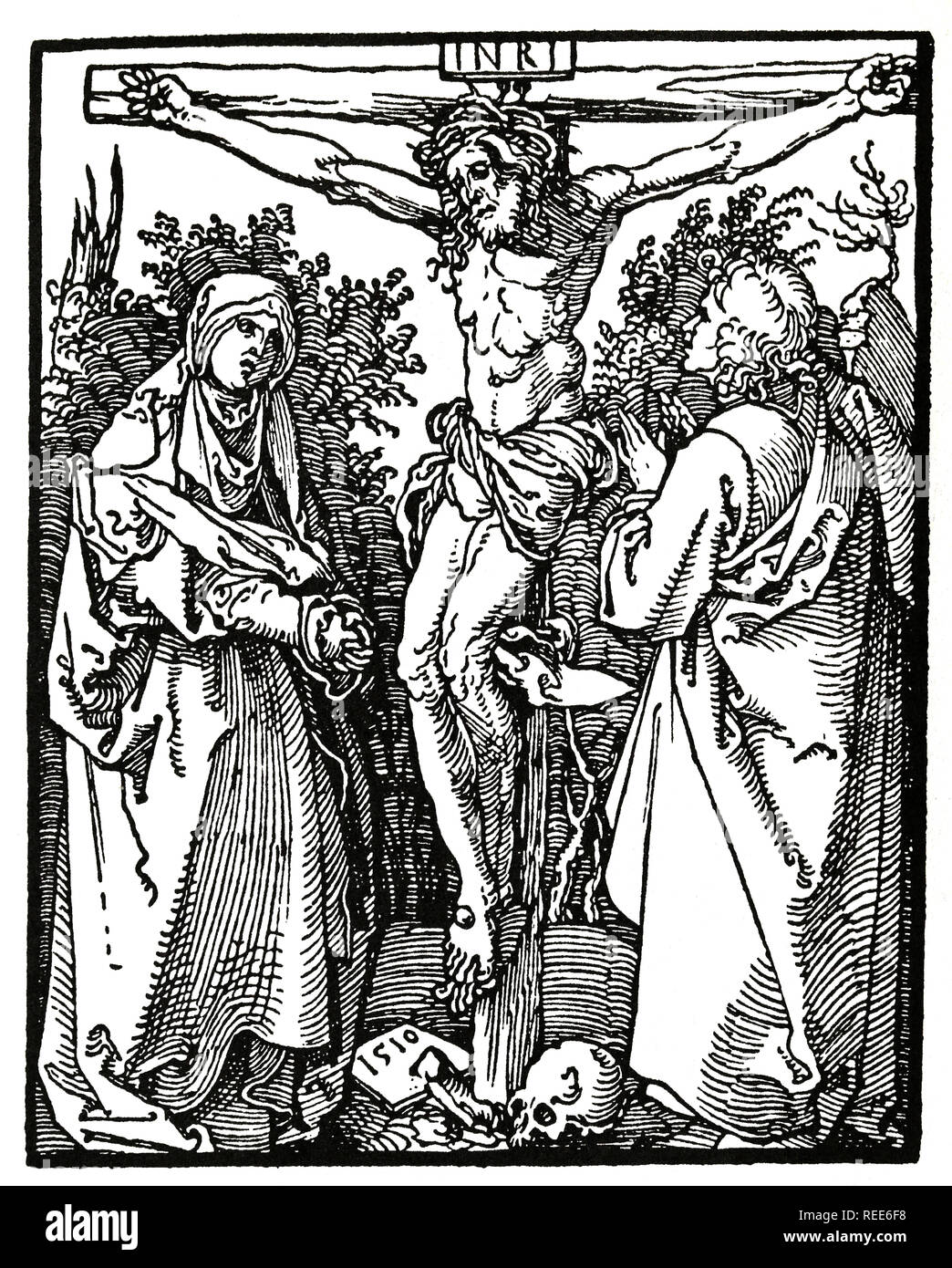 Christ on the Cross with Mary and st. John. Woodcut Albrecht Durer, 1526. - Stock Image