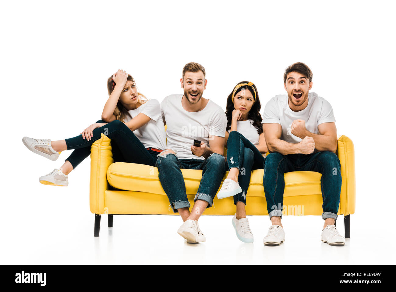 Swell Excited Men And Bored Girls Sitting On Couch And Watching Tv Squirreltailoven Fun Painted Chair Ideas Images Squirreltailovenorg