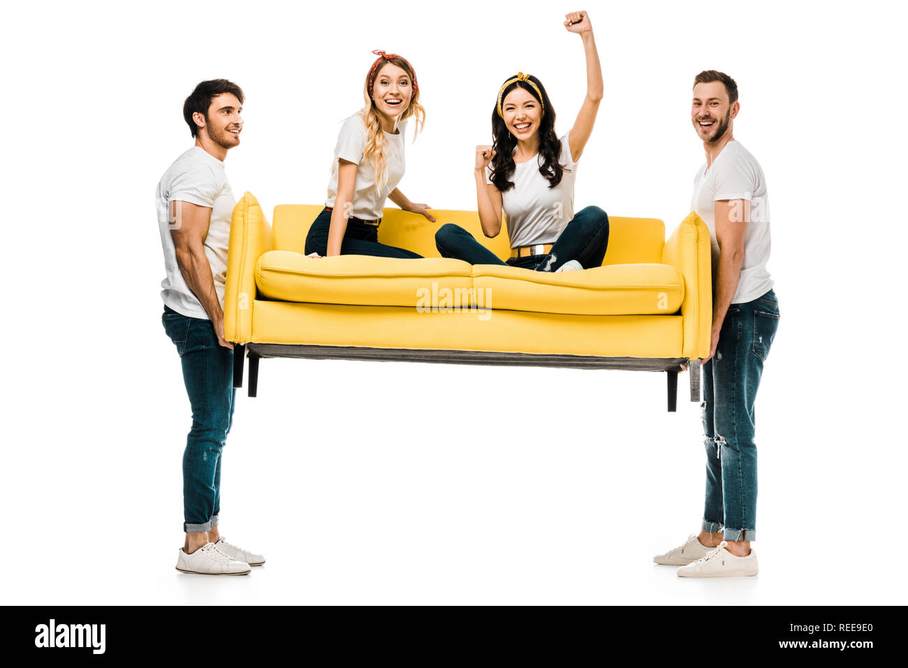 Astounding Cheerful Young Men Carrying Couch With Beautiful Girls Squirreltailoven Fun Painted Chair Ideas Images Squirreltailovenorg