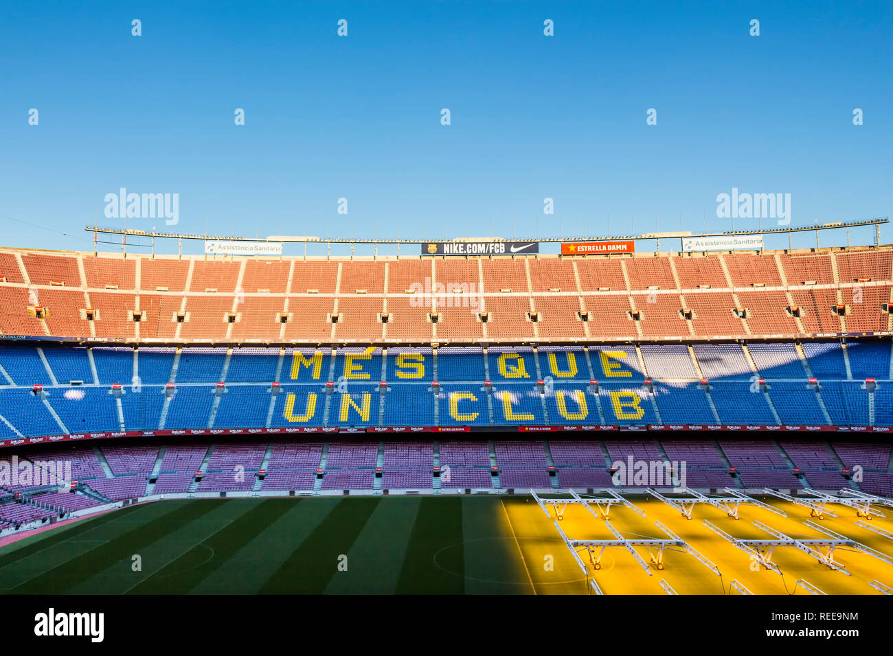 Barcelona - December 2018: Inside Camp Nou - home stadium of FC Barcelona is the largest stadium in Spain and Europe - Stock Image