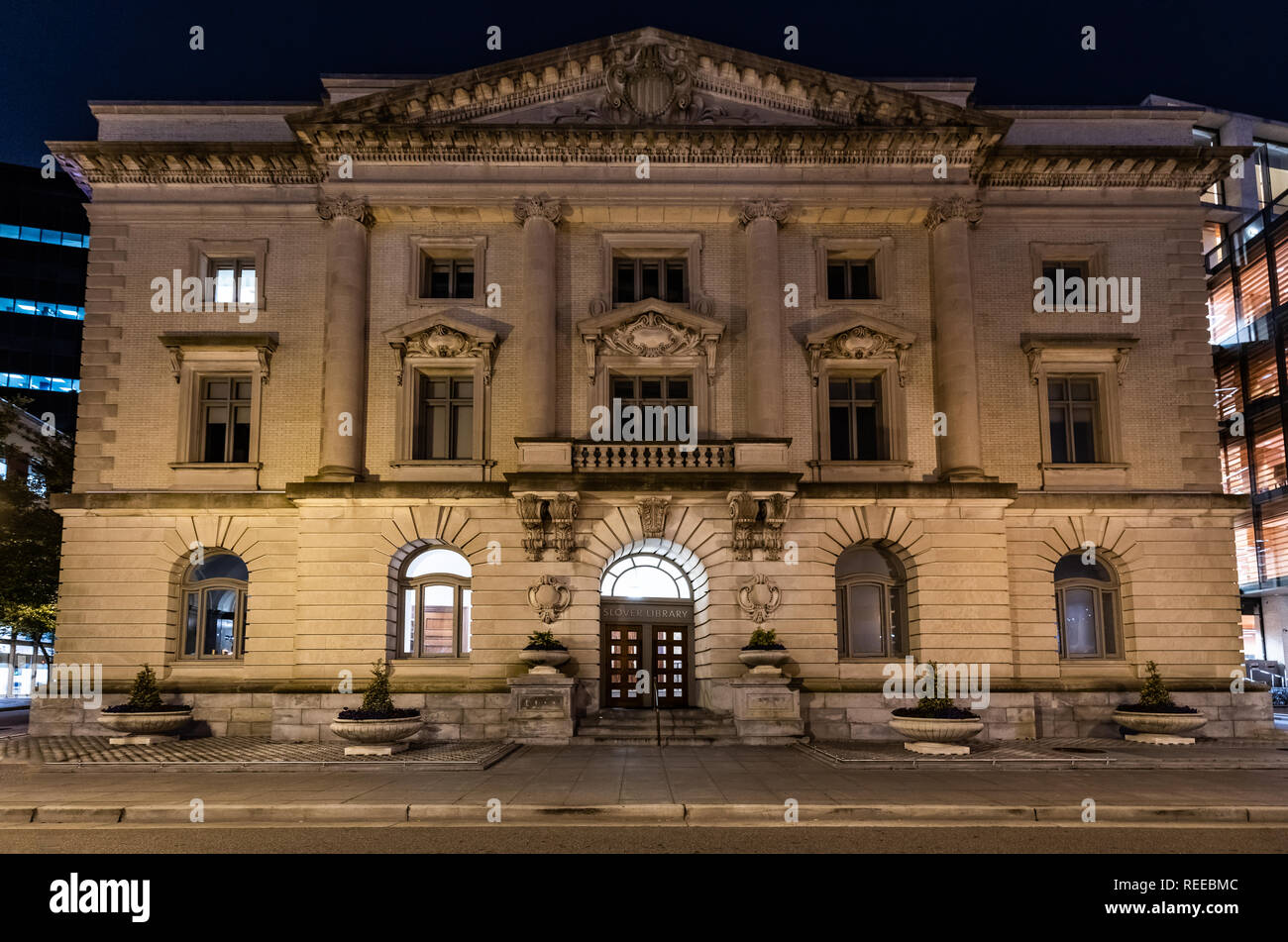 The Slover Library in Norfolk Virginia at Night - Stock Image