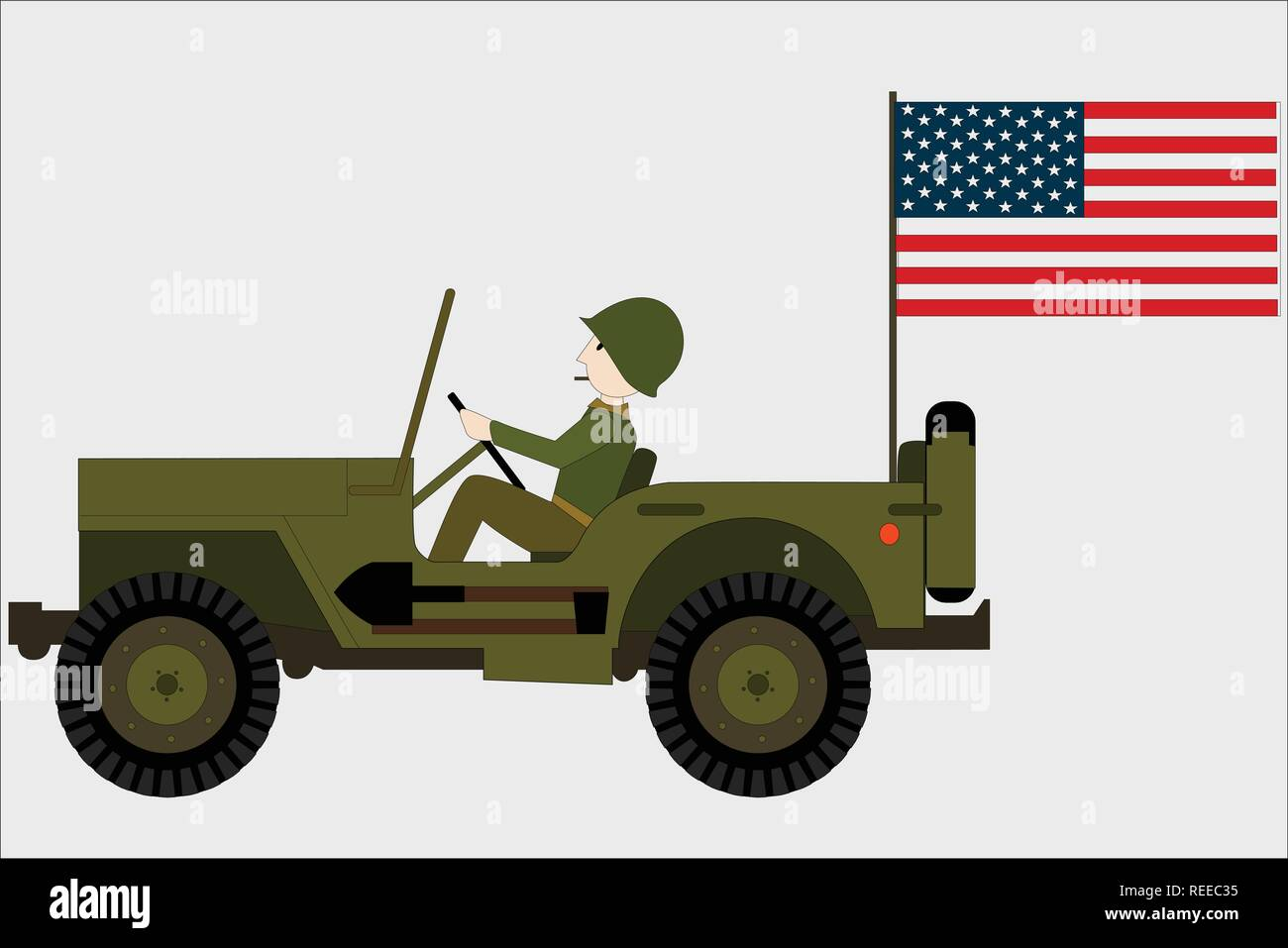 military jeep with a soldier and an american flag - Stock Vector