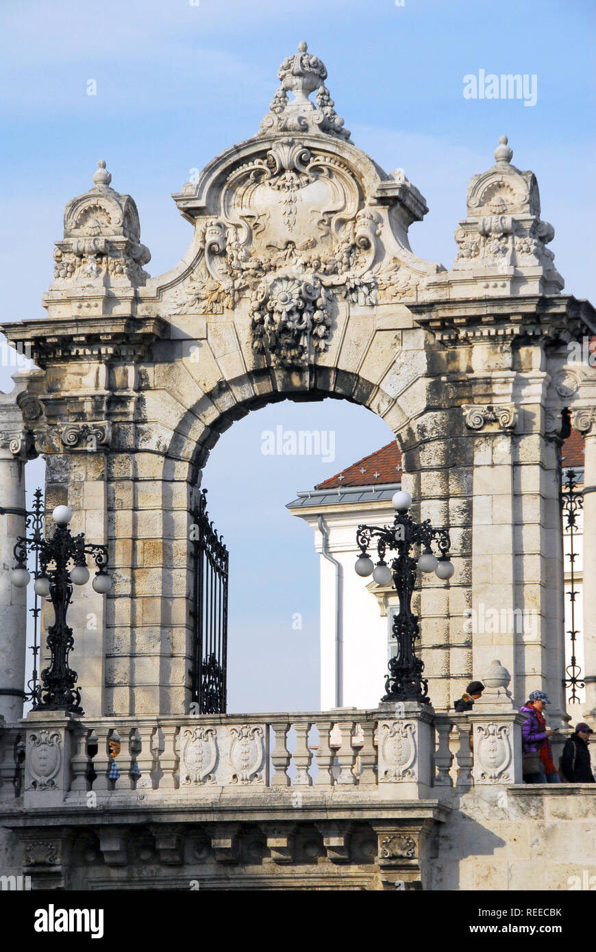 The Buda Castle is the historical castle and palace complex of the Hungarian kings in Budapest. Budavári Palota, Budai Várnegyed Stock Photo