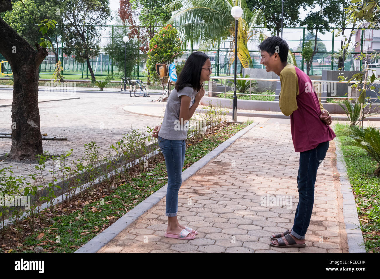 1.18, Facing each other, IndonesianBook Stock Photo