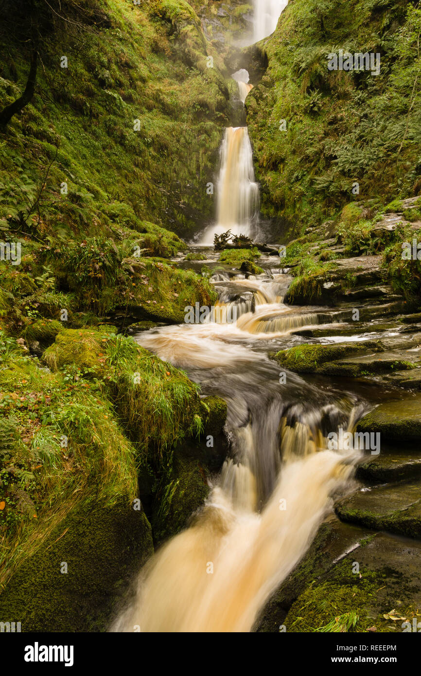 Pistyll Rhaeadr waterfall in Llanrhaeadr ym Mochnant Powys one of the Seven Wonders of Wales and a Site of Special Scientific Interest - Stock Image