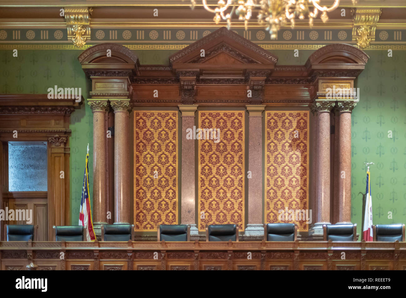 Des Moines, Iowa - The old Supreme Court chamber in the Iowa state capitol building. - Stock Image