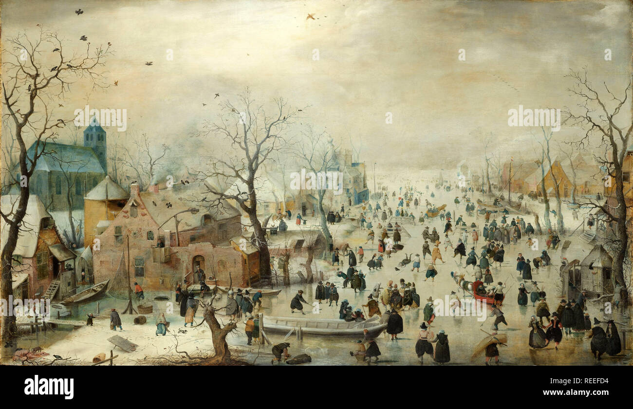 Winter Landscape with Skaters by Hendrick Avercamp - Stock Image