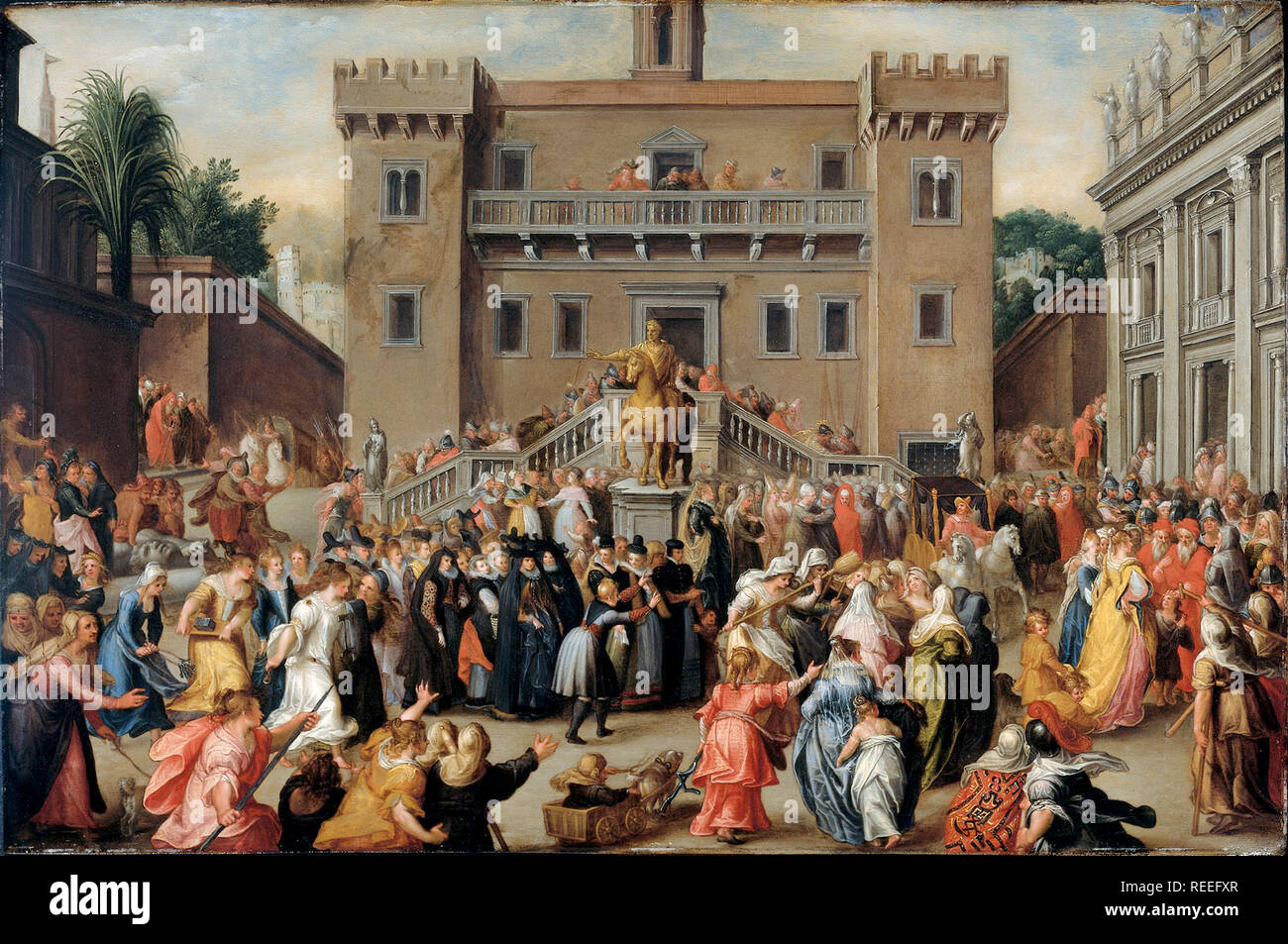 Procession of angry women in Rome after being told by the young Papirus that the Senate decided each man could marry twice by Pieter Isaacsz - Stock Image