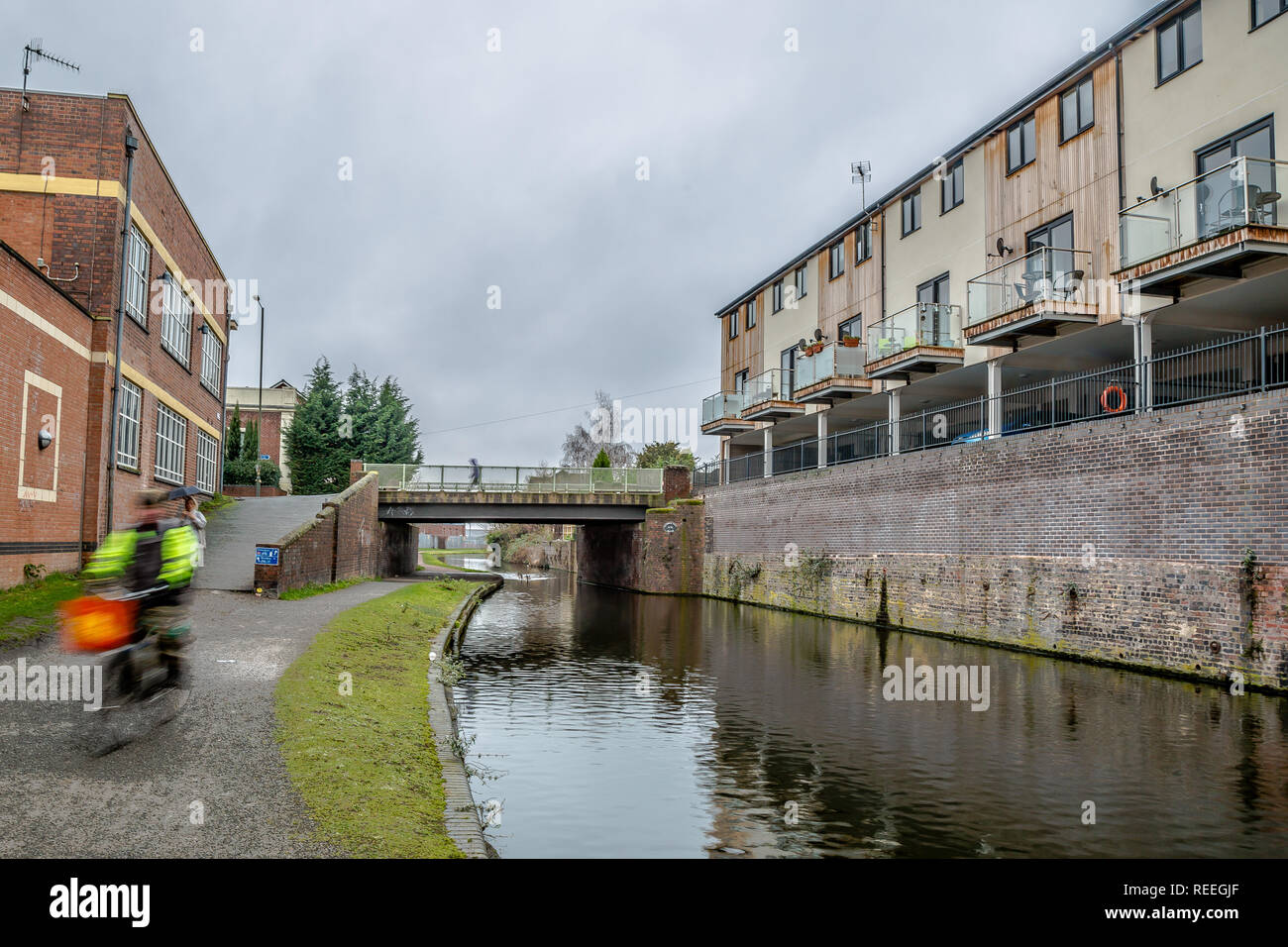 Landscape shot of canal in Kidderminster. - Stock Image