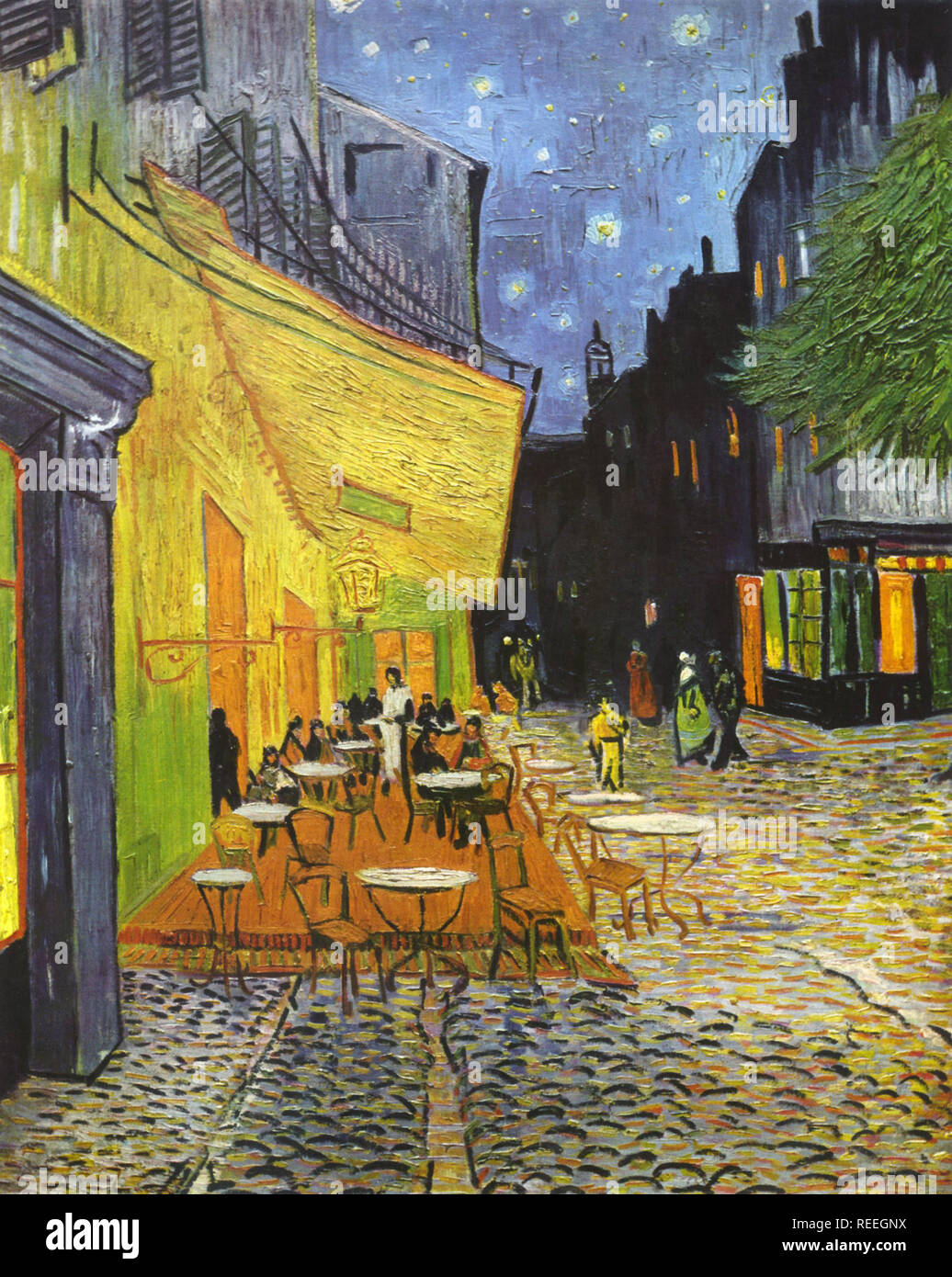 Café Terrace at Night by Dutch artist Vincent van Gogh, also known as The Cafe Terrace on the Place du Forum - Stock Image