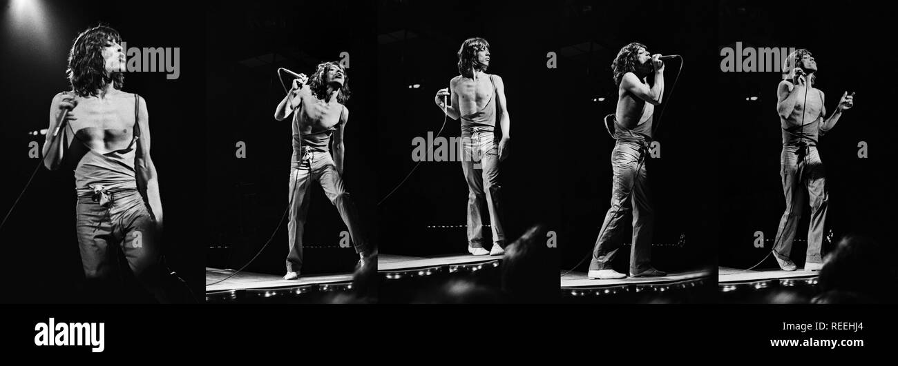 FRANKFURT, GERMANY: Mick Jagger and  from The Rolling Stones perform live on stage at the Festhalle in Frankfurt, Germany  on April 28 1976 as part of their European tour (Photo by Gijsbert Hanekroot) Stock Photo