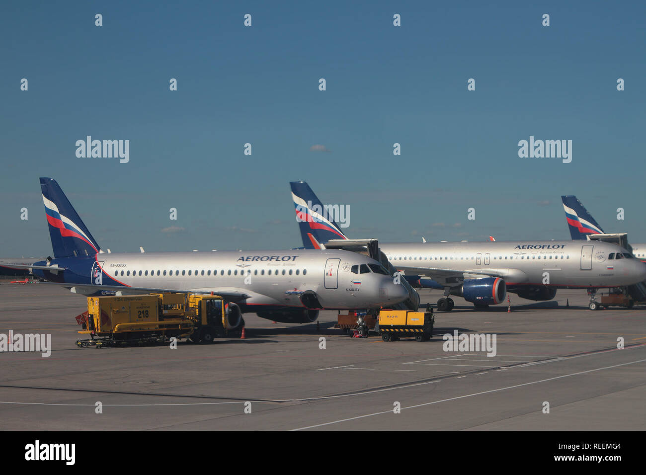 Sheremetyevo, Moscow, Russia - Sep 14, 2018: Plane 'K.Kuliyev' on parking at airport - Stock Image