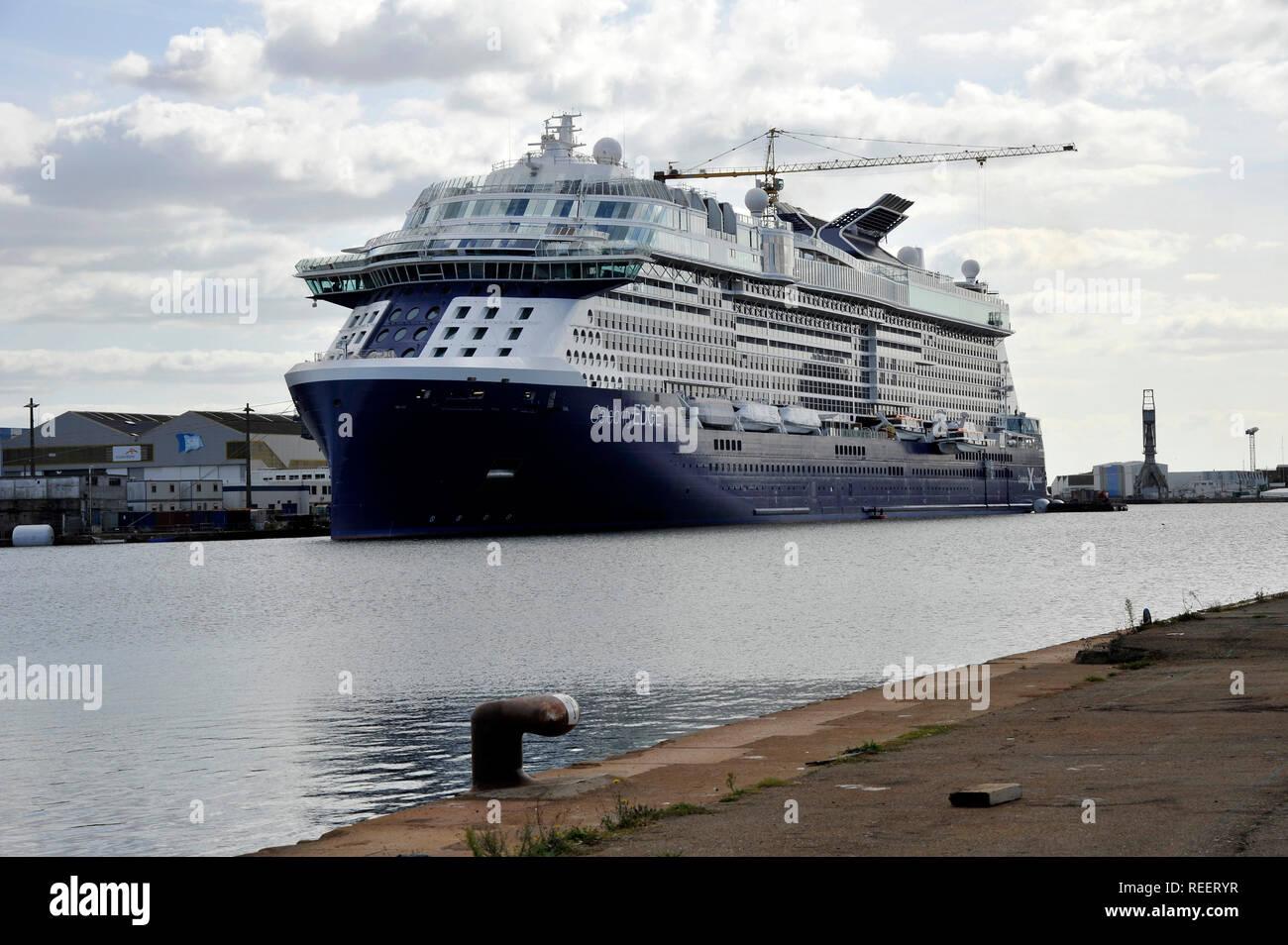 Saint-Nazaire (north-western France), on 2018/10/01: Celebrity Edge cruise ship, end of construction at the Òchantier naval de lÕAtlantiqueÓ shipyards - Stock Image