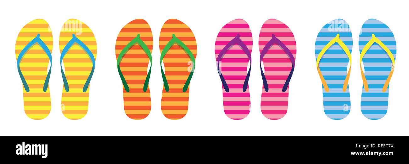 bf9d8715fa1bc set of colorful striped flip flops summer collection swim wear vector  illustration EPS10 - Stock Vector