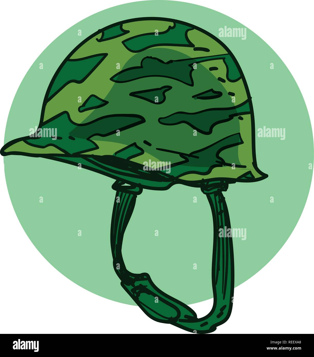 world war 2 style vintage soldier helmet, cartoon style vector illustration. - Stock Vector