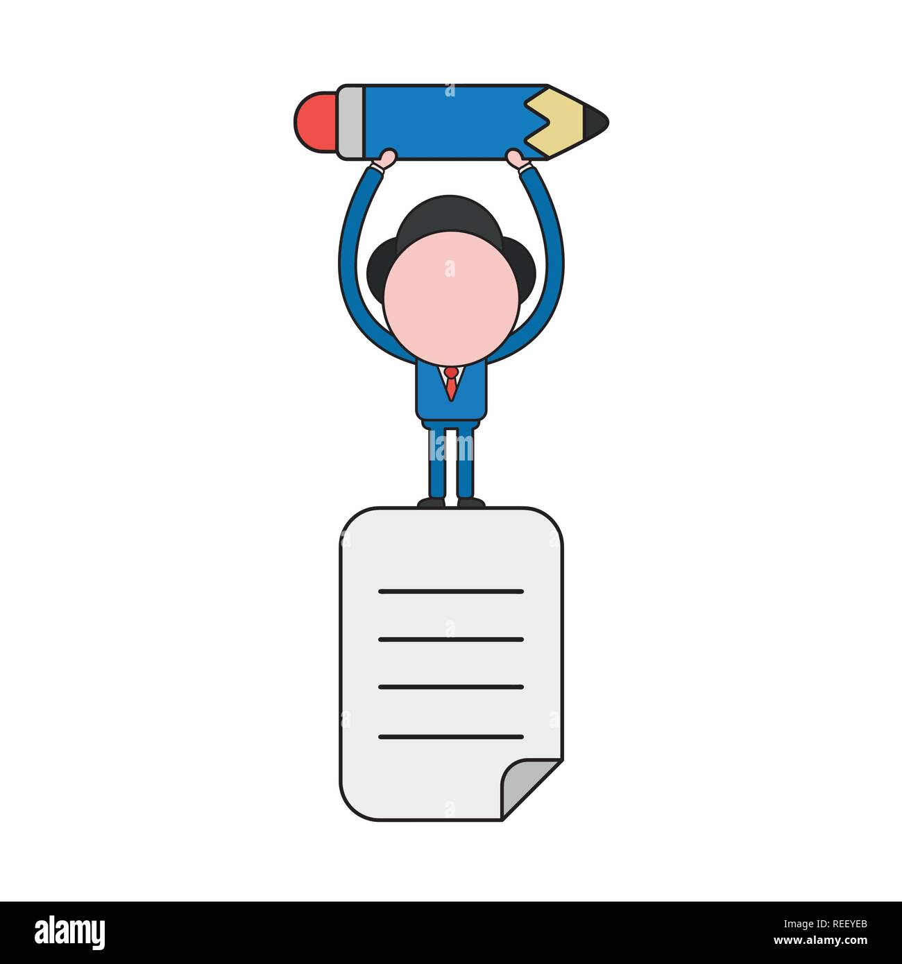 Vector illustration businessman character standing on written paper and holding up pencil. Color and black outlines. - Stock Vector