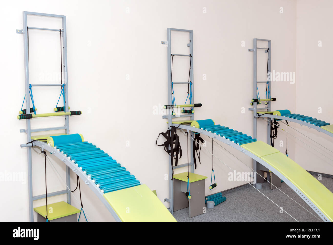 Medical spine trainer equipment. Spinal cord injury rehabilitation equipment in modern clinic - Stock Image