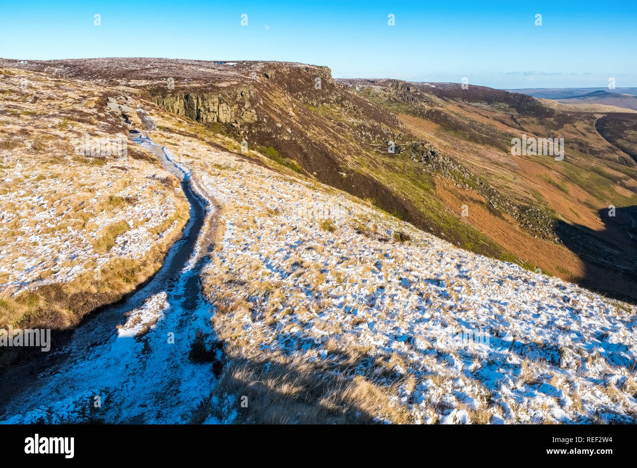 The southern edge of Kinder Scout in the Peak District National Park,Derbyshire,UK - Stock Image