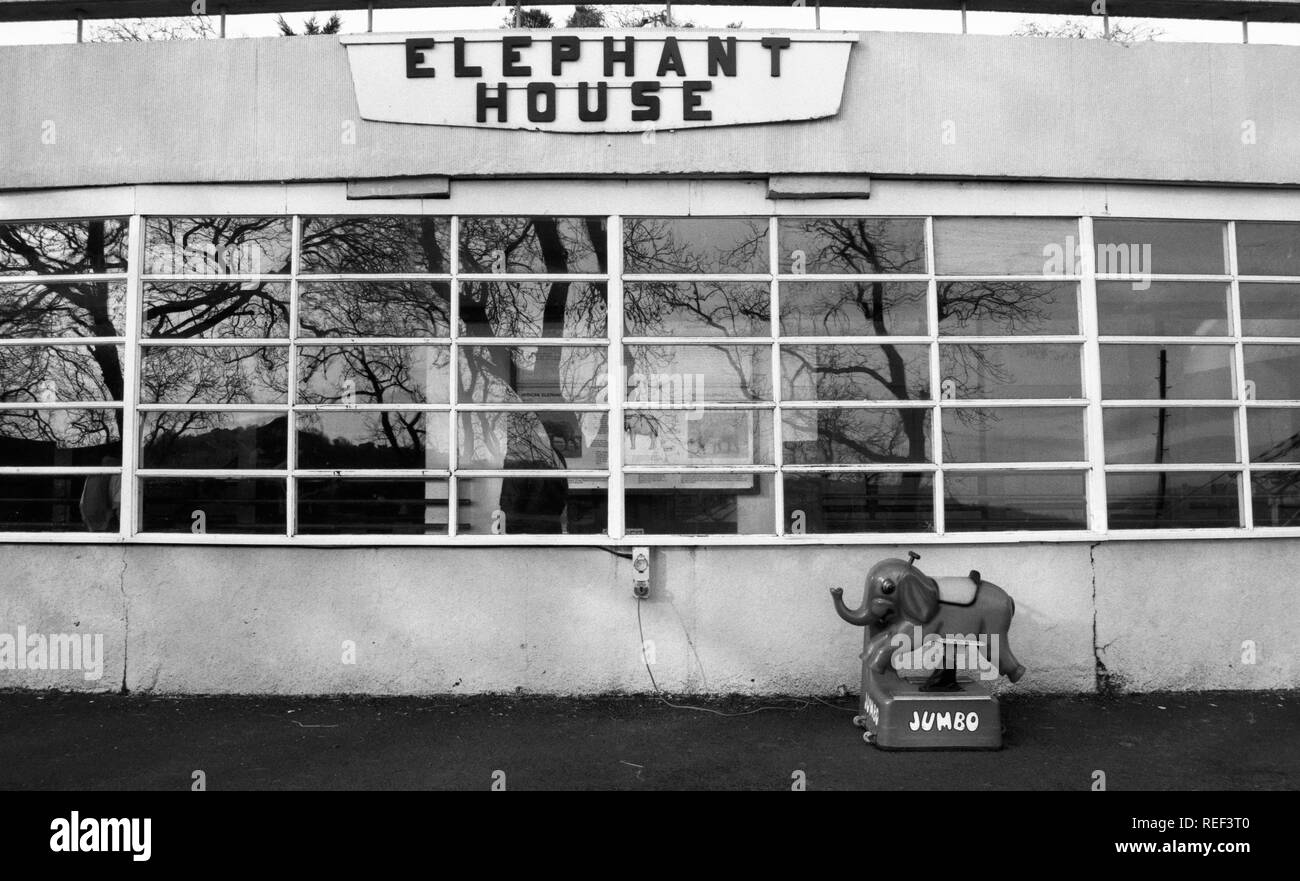 quirky black and white photograph of the elephant house at Dudly Zoo, West Midlands, UK - Stock Image