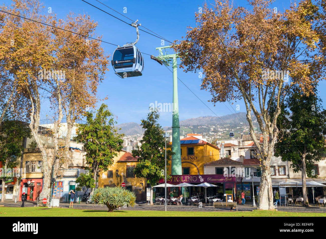 MADEIRA Funchal cable car connecting Zona velha old town funchal to Monte up the mountain Fuchal zona velha Madeira Portugal EU Europe - Stock Image