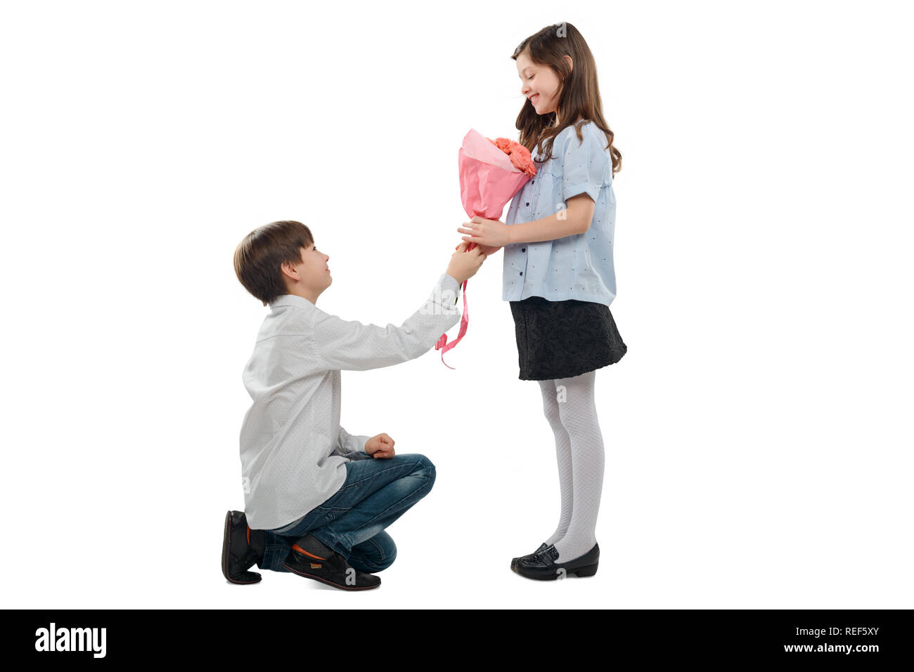 Girl received bouquet of flowers - Stock Image