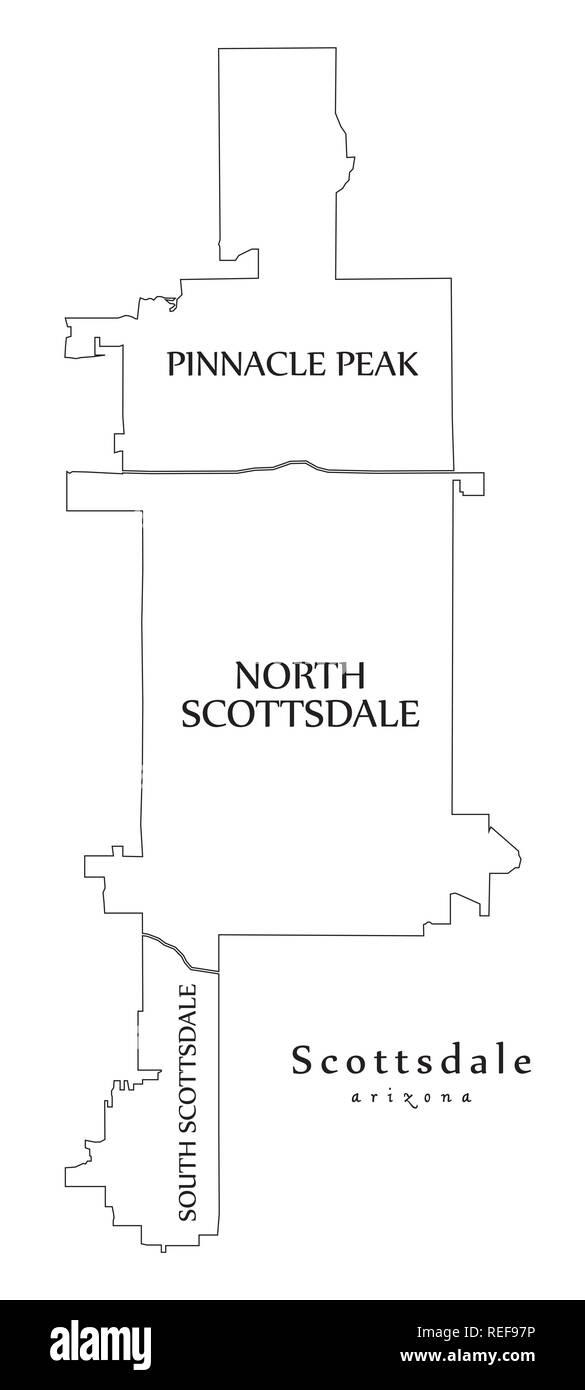 Map Of Arizona Scottsdale.Modern City Map Scottsdale Arizona City Of The Usa With