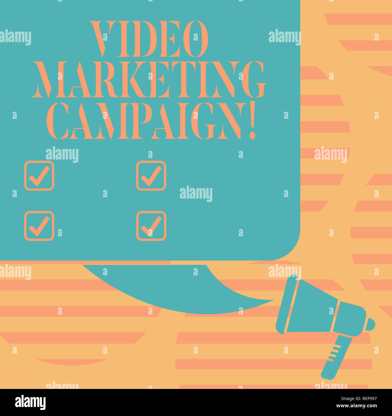 Word writing text Video Marketing Campaign. Business concept for Assessing the benefit of digital campaign Color Silhouette of Blank Square Speech Bub - Stock Image