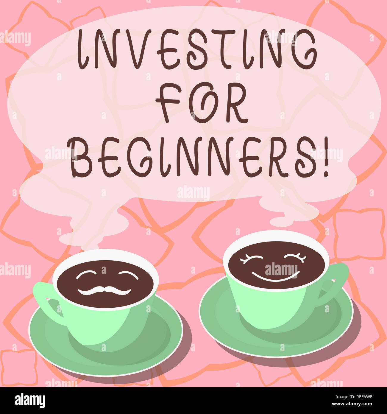 Conceptual hand writing showing Investing For Beginners. Business photo showcasing outlay of money usually for income or profit Cup Saucer for His and Stock Photo
