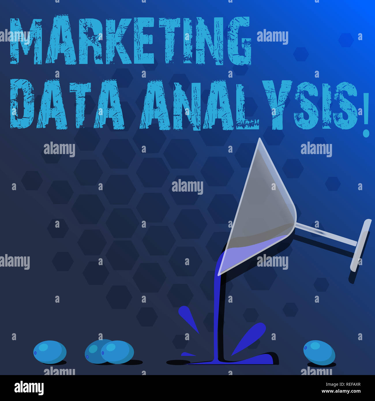 Word writing text Marketing Data Analysis. Business concept for Collecting data, scrutinized and make a conclusion Cocktail Wine Glass Pouring Liquid  - Stock Image