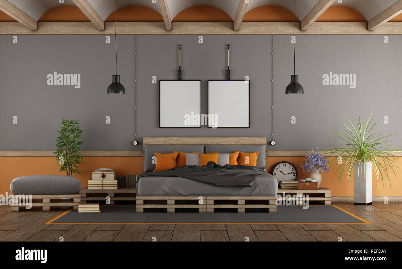 Renders 3d For Master Bedroom Project: Pallet Bed Stock Photos & Pallet Bed Stock Images