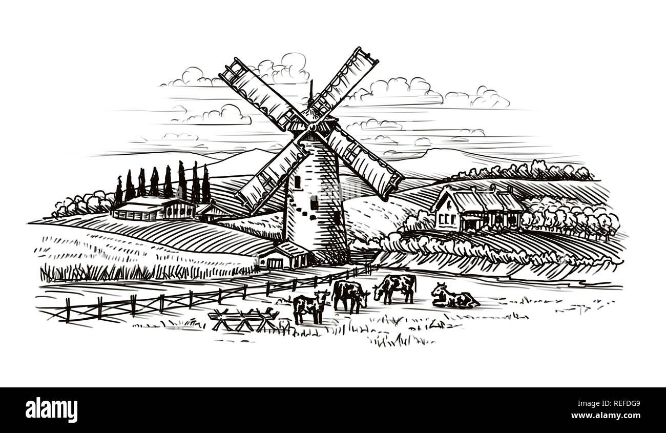 Rural landscape village sketch agriculture farming vintage stock image