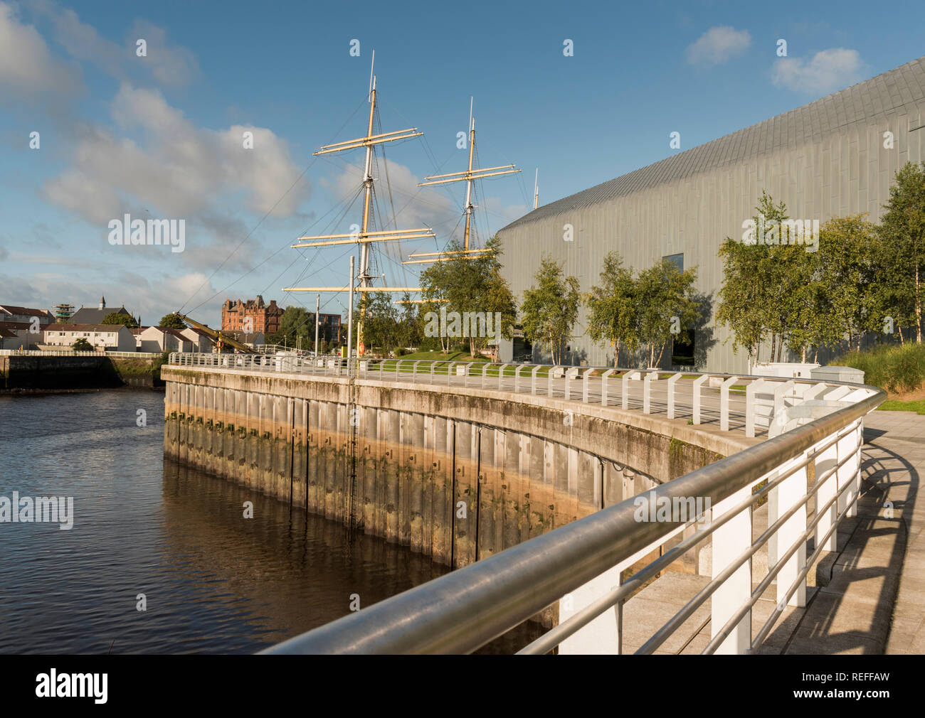 Pointhouse Quay in Glasgow where the tall ship Glenlee is moored outside the Riverside Museum - Stock Image