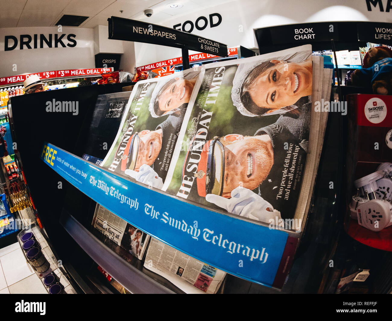 LONDON, ENGLAND - MAY 20, 2018: Front covers of British national newspapers are seen following the Royal Wedding press kiosk between Prince Harry and Meghan Markle The Sunday Times - Stock Image