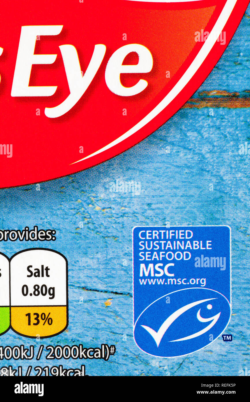 certified sustainable seafood MSC logo - information on packet of Birds Eye Fish Fingers - marine stewardship council - Stock Image