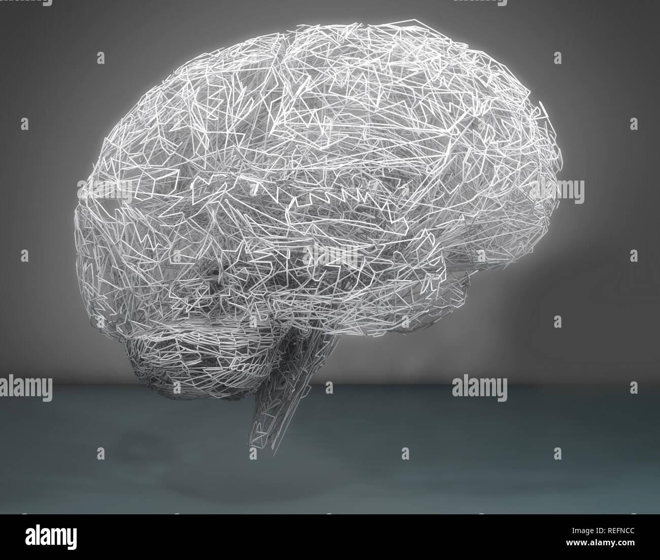 3d brain illustration - Stock Image