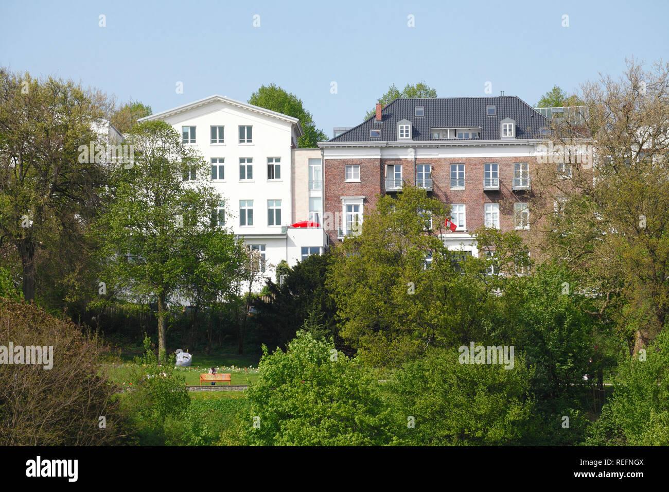Residential building on the Elbe bank, Altona, Hamburg, Germany, Europe I Wohngebäude am Elbufer, Altona,  Hamburg, Deutschland, Europa I Stock Photo