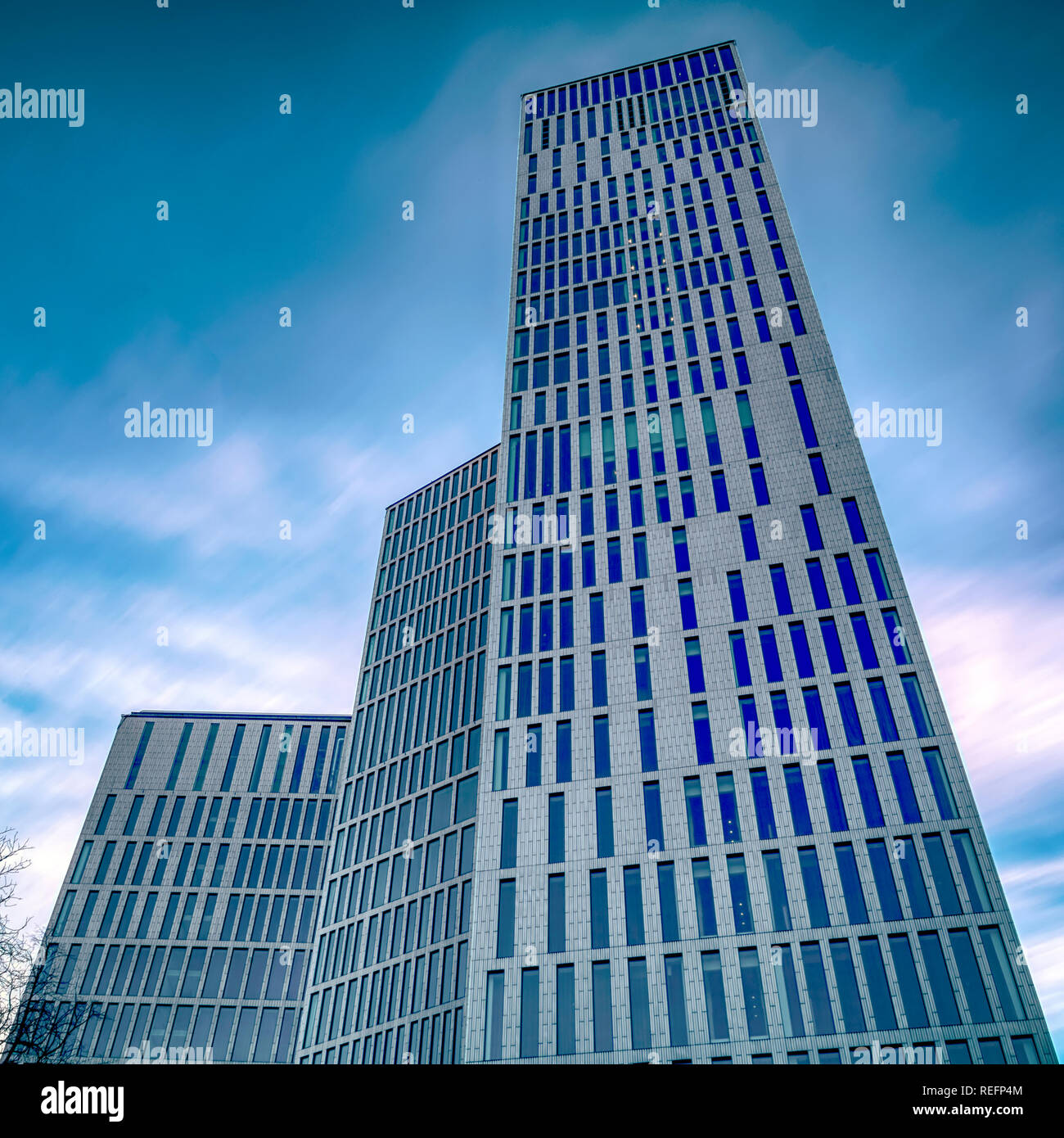 MALMO, SWEDEN - JANUARY 05, 2019: The new building blocks Malmo Live, that Consist of apartments, hotels, congress and concert hall behind the world m Stock Photo