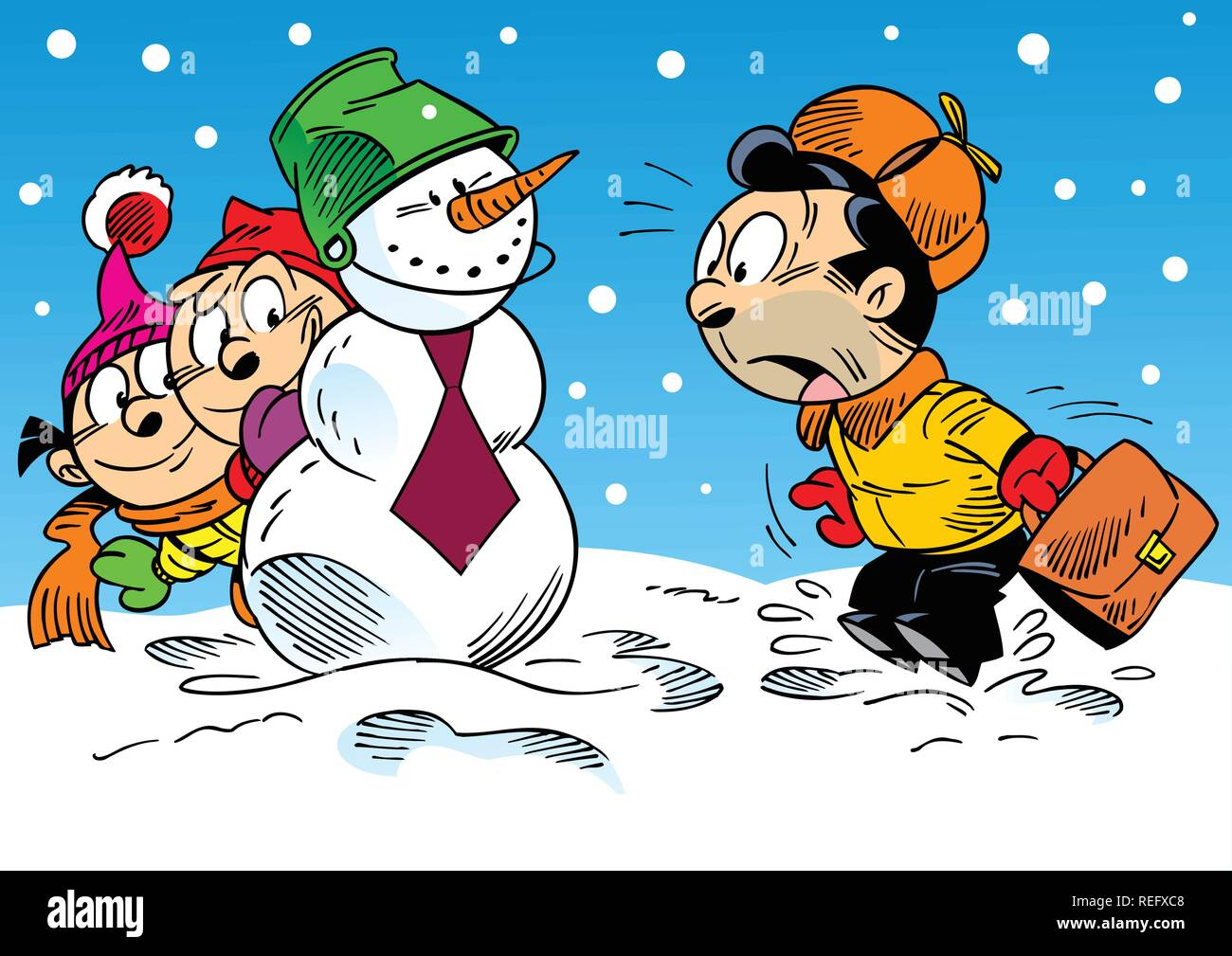 The illustration shows how the children with their parents have fun and relax in the winter holidays. Illustration done in cartoon style Stock Vector