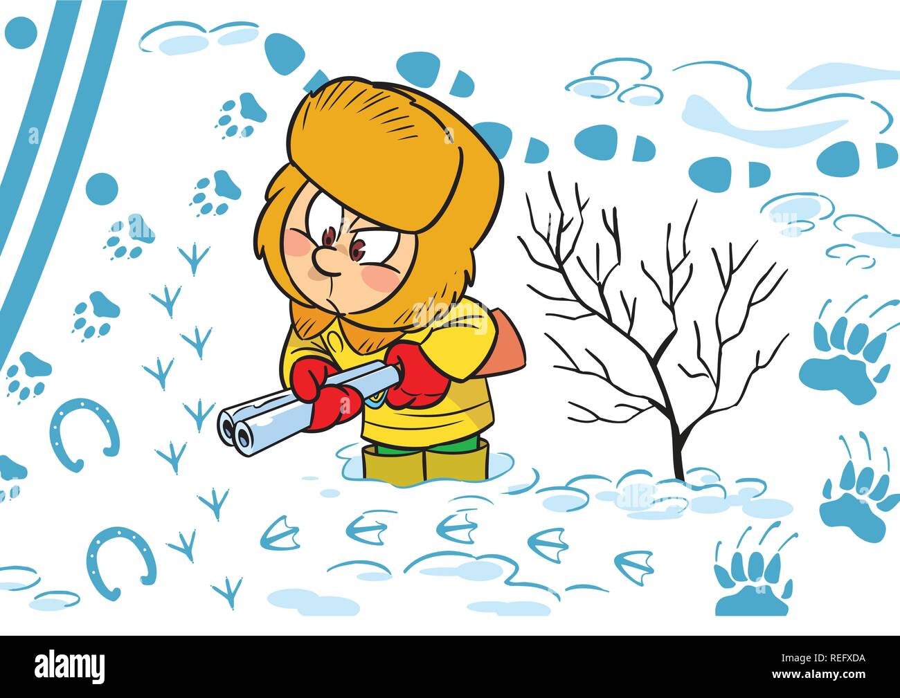 The illustration shows a child's play outdoors in the winter. He plays with a toy ranger shotgun and studying animal tracks. - Stock Vector