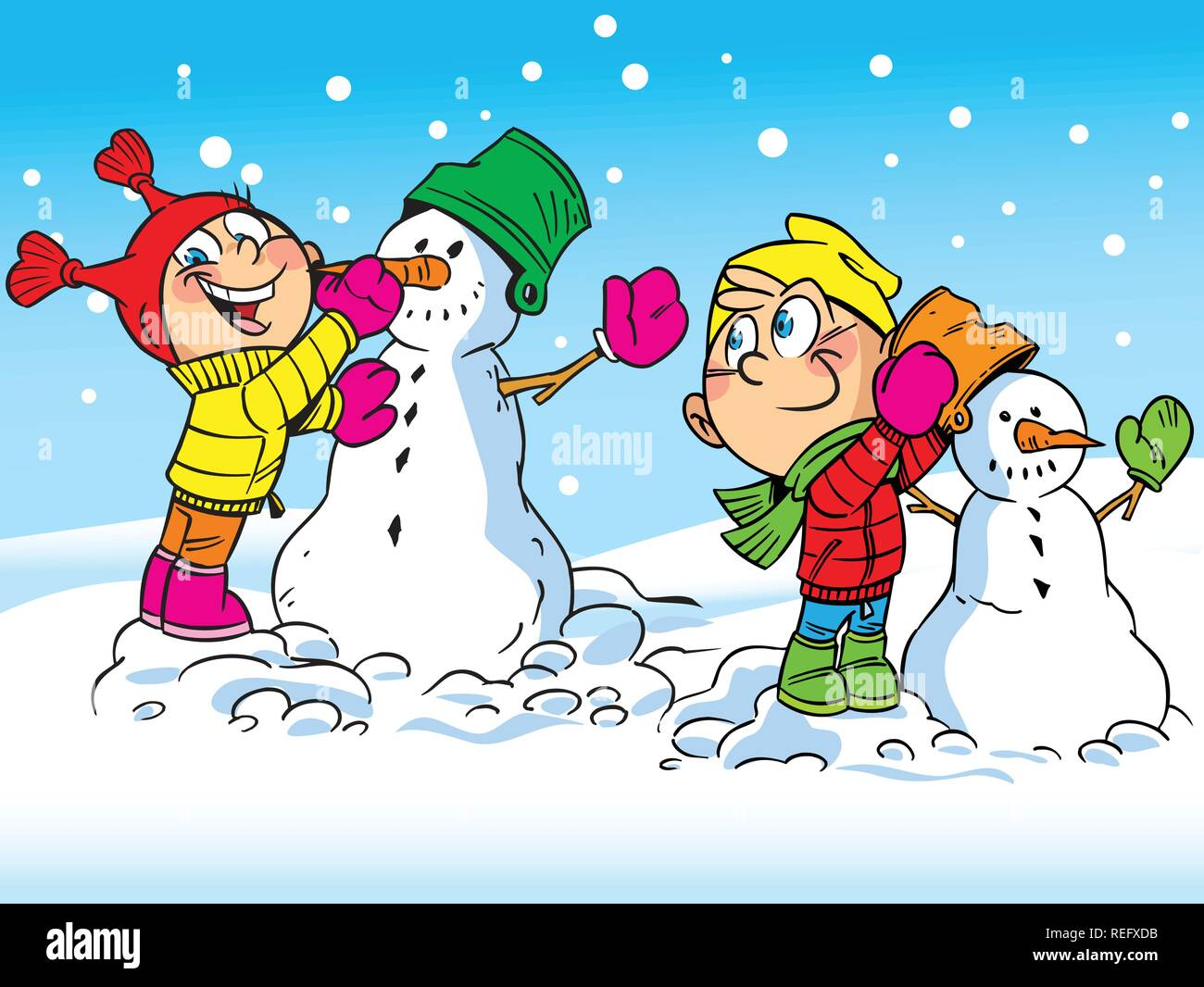 The illustration shows a boy and girl who make a snowman. Illustration done in cartoon style. - Stock Vector