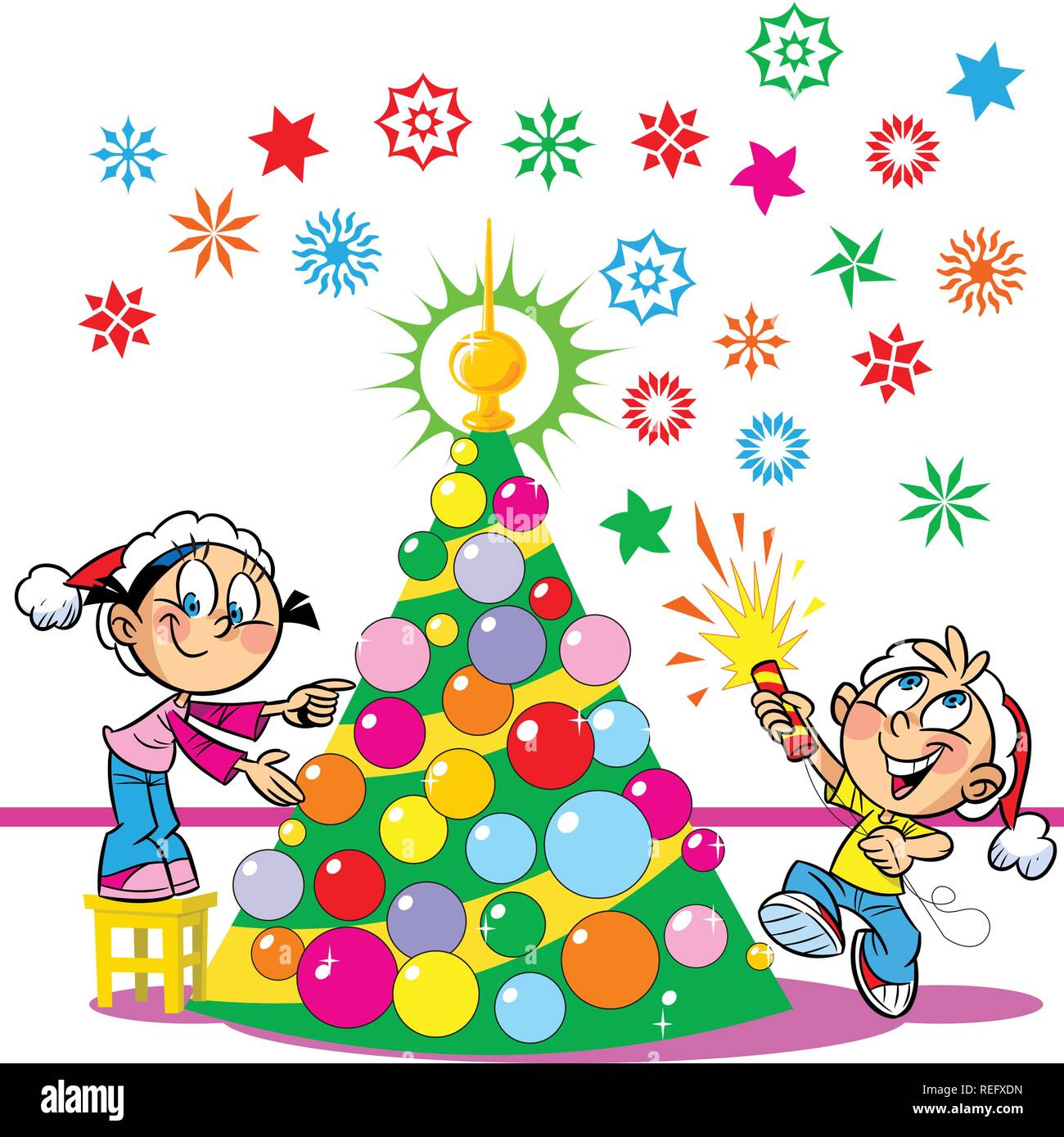 In The Illustration The Children Decorate The Christmas Tree Boy And Girl Funny And Amusing The Boy In The Hands Of Party Poppers Illustration Don Stock Vector Image Art Alamy Download 2,504 cartoon christmas tree free vectors. https www alamy com in the illustration the children decorate the christmas tree boy and girl funny and amusing the boy in the hands of party poppers illustration don image232690017 html
