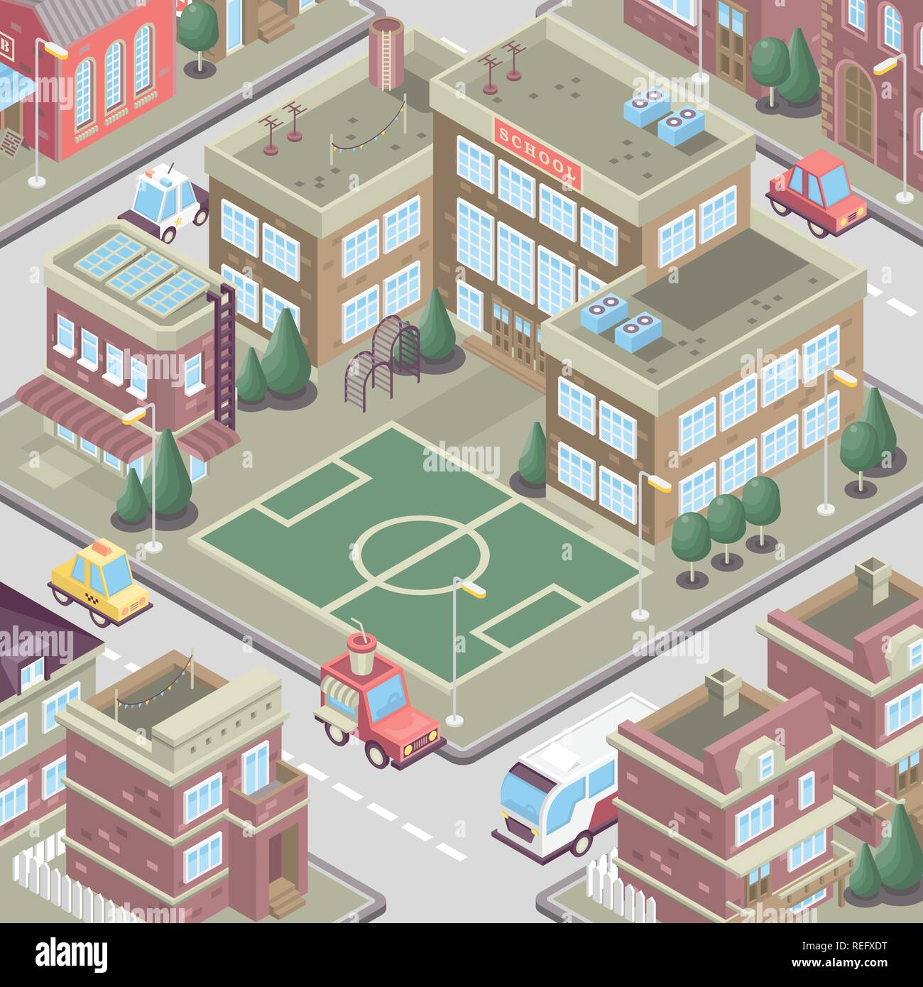 City district in isometric 3d style. Vector town. Set of buildings, houses, townhouses, multi-family homes, shop, bar, school, hospital, car parking. Stock Vector