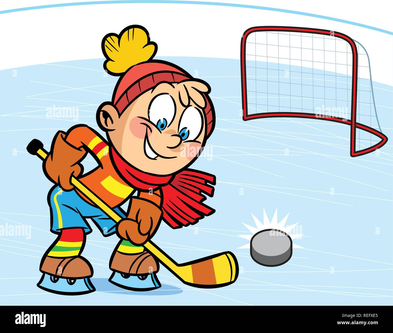 A Boy Playing Hockey He Scored The Puck Into The Goal Illustration Done In Cartoon Style Stock Vector Image Art Alamy