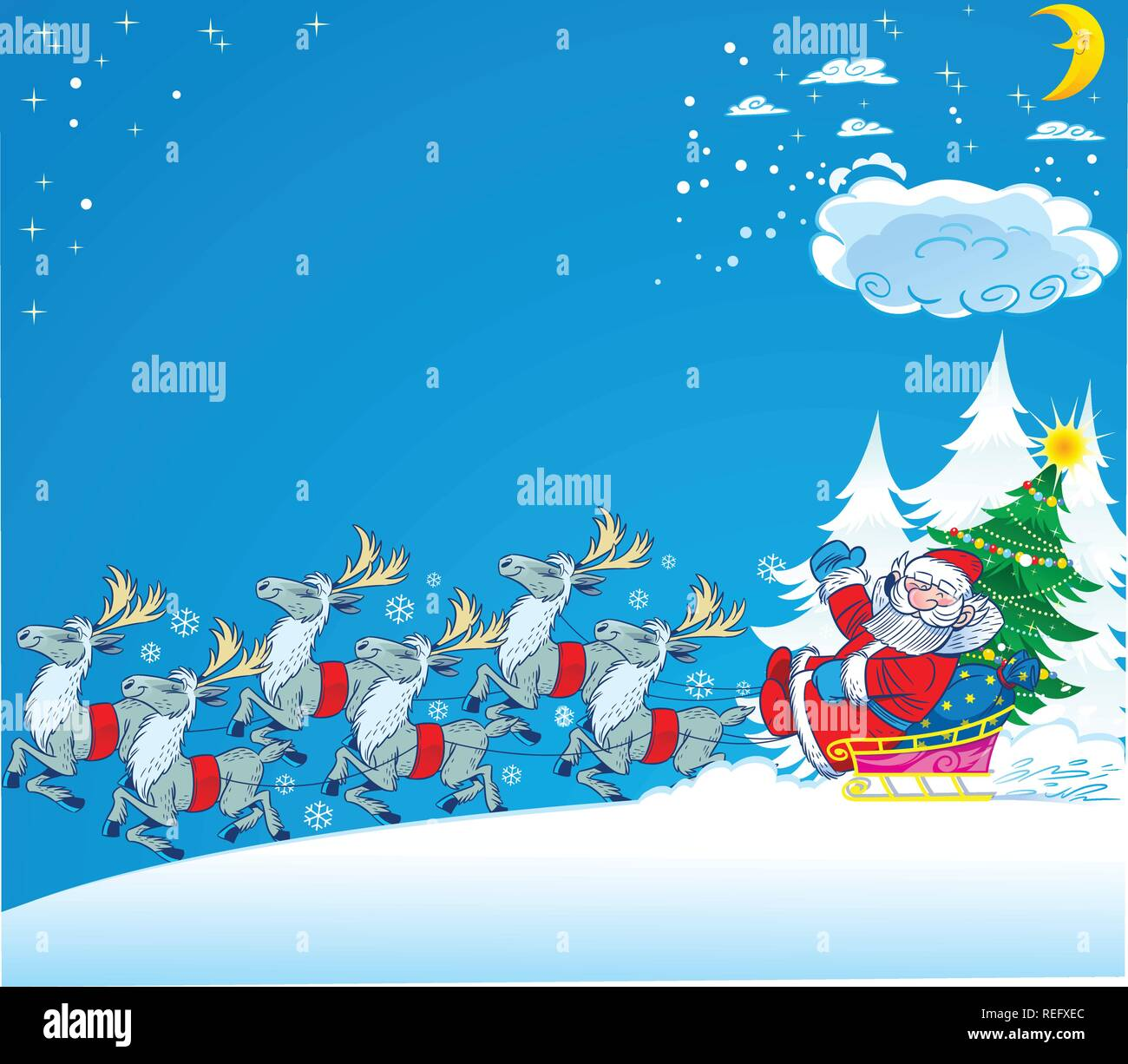 Santa Claus rides in a sleigh through the snow.Next to him a green Christmas tree and gifts.Sledge race several reindeer. Illustration in separate lay - Stock Vector