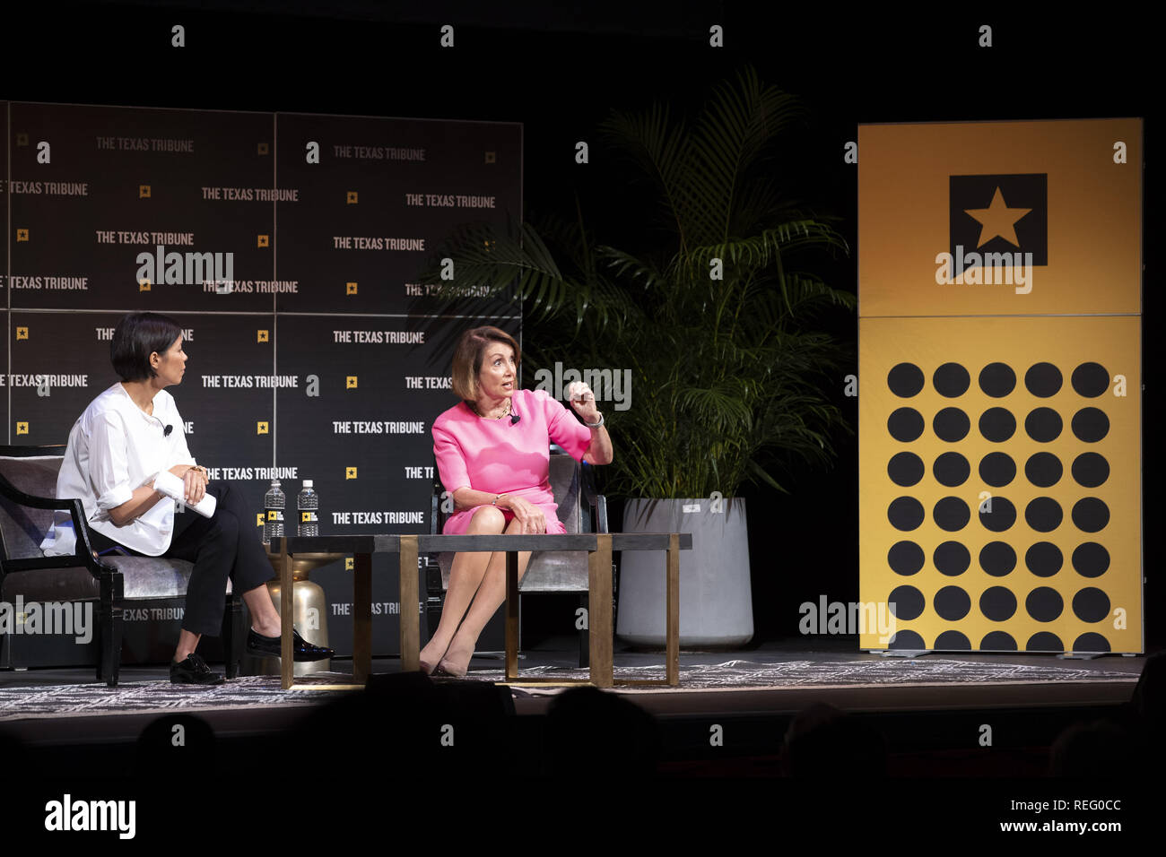 Austin, Texas, USA. 29th Sep, 2018. House Democratic leader Nancy Pelosi appears as a featured guest with interviewer Alex Wagner at the 2018 Texas Tribune Festival on Sept. 29, 2018. Pelosi has since been elected Speaker of the U.S. House of Representatives Credit: Bob Daemmrich/ZUMA Wire/Alamy Live News - Stock Image