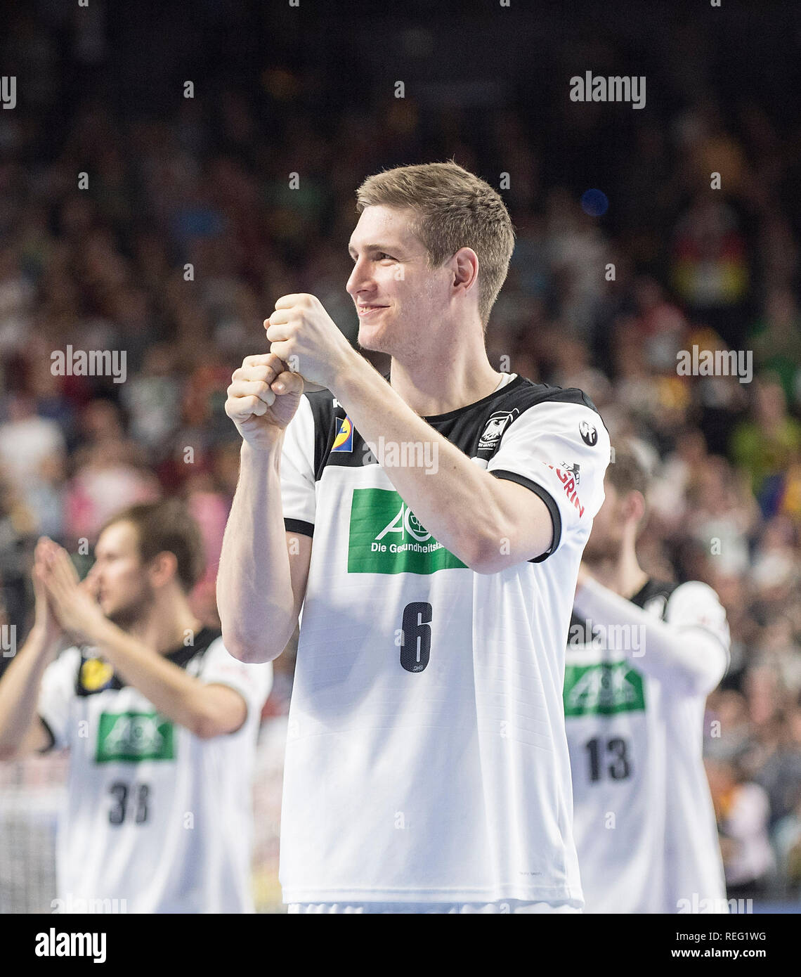 Cologne, Deutschland. 19th Jan, 2019. final jubilation Finn LEMKE (GER) Main Round Group I, Germany (GER) - Iceland (ISL) 24 - 19, on 19/01/2019 in Koeln/Germany. Handball World Cup 2019, from 10.01. - 27.01.2019 in Germany/Denmark. | usage worldwide Credit: dpa/Alamy Live News Stock Photo