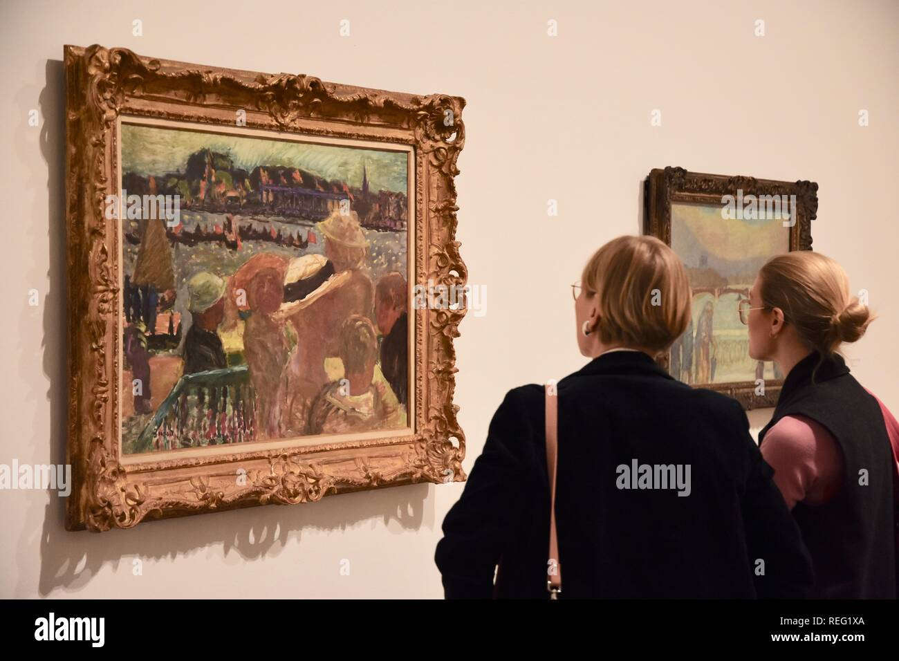 London, UK. 21st January 2019. View from Uhlenhorst Ferry House on the Outer Aister Lake with St Johannis.Fete sur l'Eau 1913.Oil on canvas.Pierre Bonnard Exhibition,'The Colour of Memory' opening from 23 Jan to 6 May 2019.Tate Modern, London.UK Credit: michael melia/Alamy Live News - Stock Image
