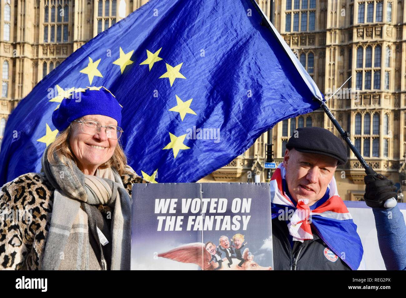 Anti Brexit Protest.Remainers continued their protest on the day that Theresa May revealed her Brexit Plan B.Houses of Parliament,Westminster,London.UK - Stock Image